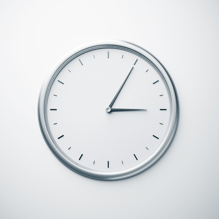 Wall clock of metal. 3D rendering.