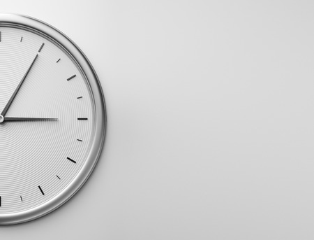 Wall clock of metal. 3D rendering.