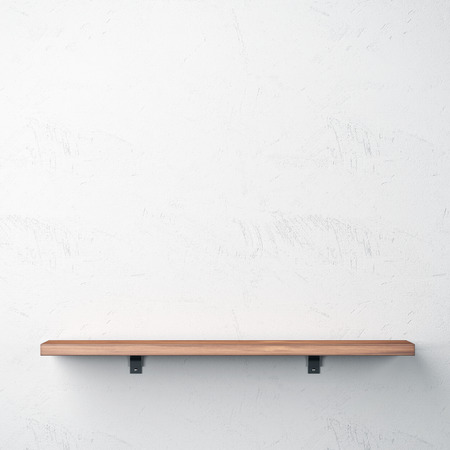 Wood shelf on white wall Imagens
