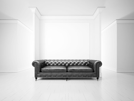leather sofa: White interior with sofa and banner Stock Photo