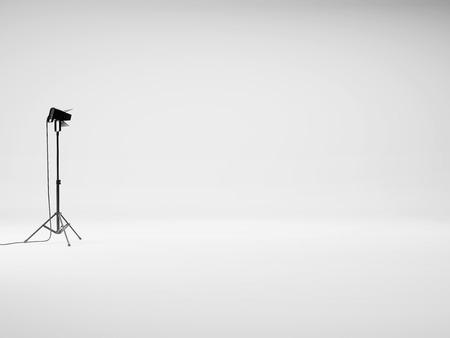 Photo studio with equipment. 3D rendering Stock Photo