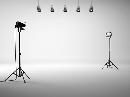 spotlight white background: Photo studio with equipment. 3D rendering Stock Photo