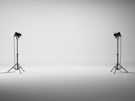 photo backdrop: Photo studio with equipment. 3D rendering Stock Photo