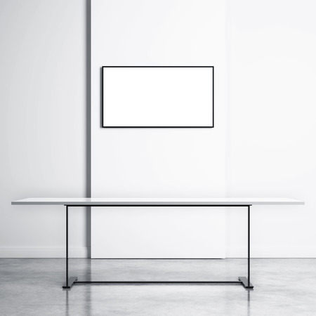 dolby: White table and empty TV screen