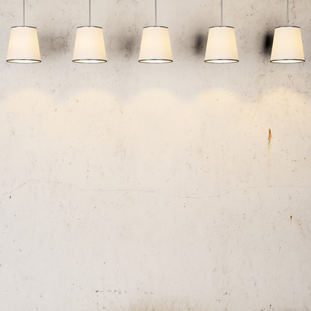 Concrete vintage wall with lamps
