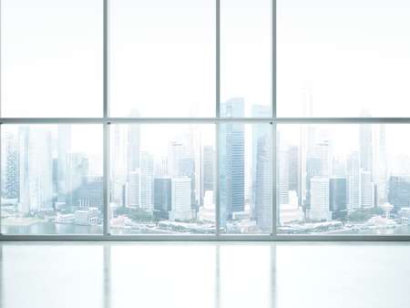 大きな窓と白のインテリア。3 D レンダリング
