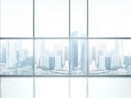 ventanas: Interior blanco con grandes ventanales. Representación 3D