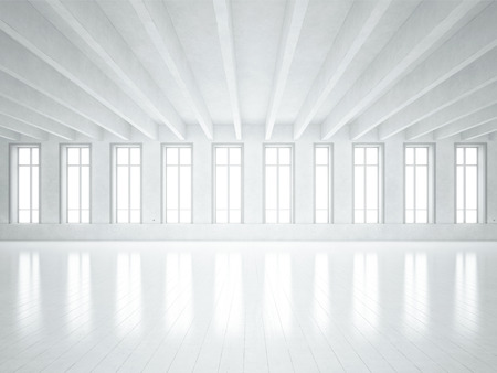 empty: White office interior. 3D rendering