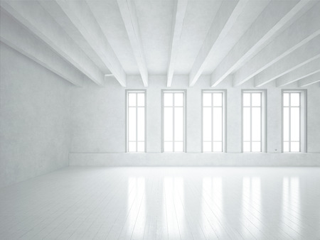 perspective room: White office interior. 3D rendering