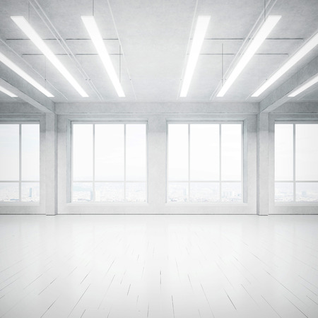 empty house: White office interior. 3D rendering