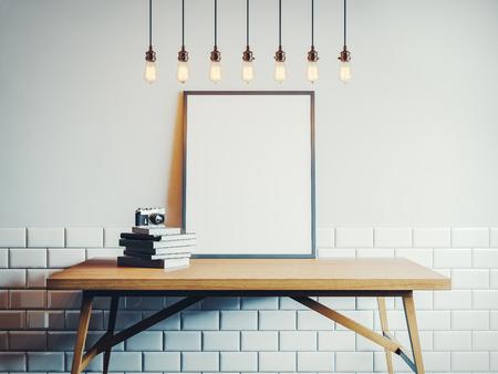 Canvas sjabloon op de houten tafel. 3D-rendering