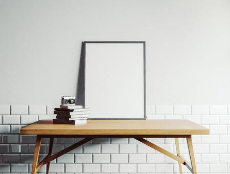 Plantilla lienzo sobre la mesa de madera. Representación 3D