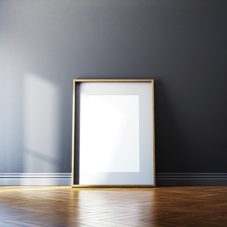 mock up: Blank canvas on a wall. 3D rendering Stock Photo