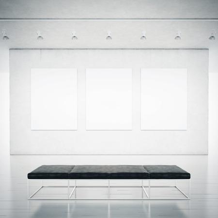 Empty white gallery interior. 3D rendering