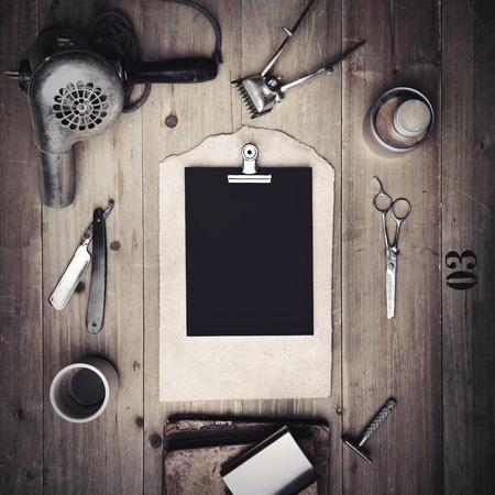 이발소와 빈 캔버스의 빈티지 도구 스톡 콘텐츠