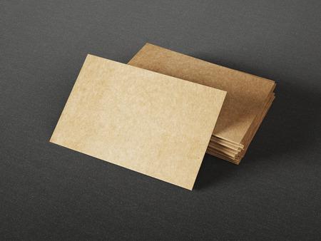 暗い背景にダン ボール名刺 写真素材