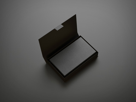 mockup: Black business card in the box Stock Photo