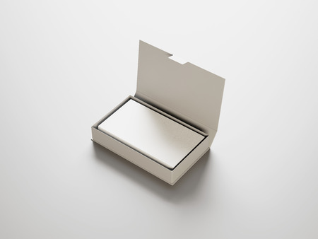 mockup: White business cards in the white box