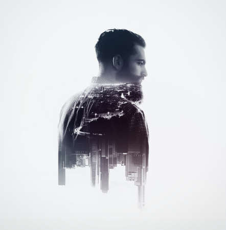 exposure: Double exposure with bearded man and city