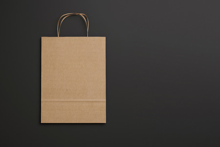 paper bags: Blank paper bag with handles. 3D rendering Stock Photo