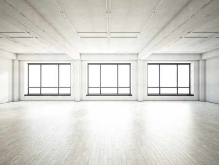 empty space: White interior with large windows. 3D rendering