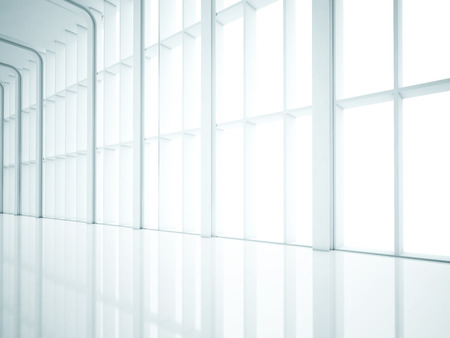 White interior with large windows. 3D rendering