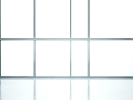 large windows: White interior with large windows. 3D rendering