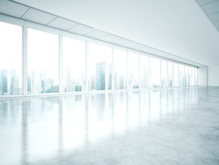 Interior branco com janelas grandes. Renderização em 3D