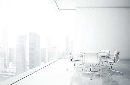 vaso vacio: Interior blanco con grandes ventanales. Representaci�n 3D