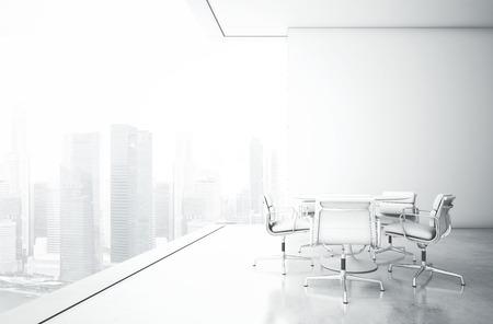 case moderne: Interno bianco con grandi finestre. Rendering 3D