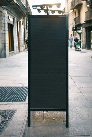mockup: Chalkboard mockup on the street Stock Photo