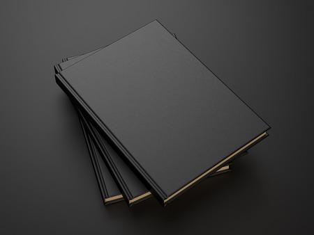 검은 색 빈 커버와 함께 책. 3d 렌더링