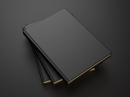 leather background: books with black blank cover. 3d render