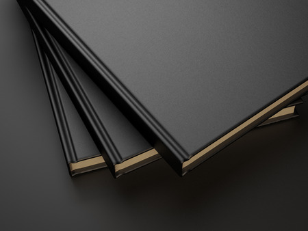 paperback book: three books with black blank cover. 3d render