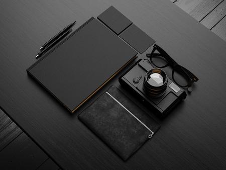 Set di mockup nero. Rendering 3D Archivio Fotografico - 41435189