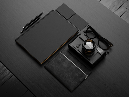 Set of black mockup. 3d render Фото со стока - 41435189