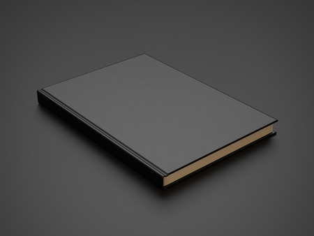 close up: book with black blank cover. 3d render Stock Photo