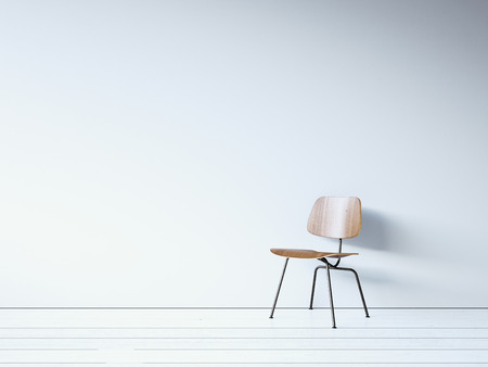 Vintage chair on the white wall. 3d render