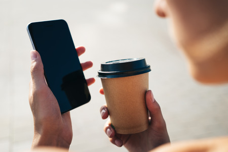 mockup: Mock up of smart phone and blank paper cup