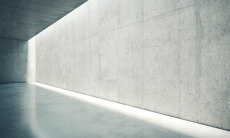 an open space: Blank concrete space interior wall with white lights.