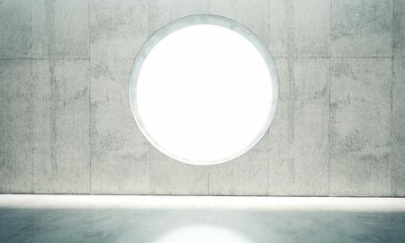 Lege betonnen ruimte binnenlandse muur met witte lichten.