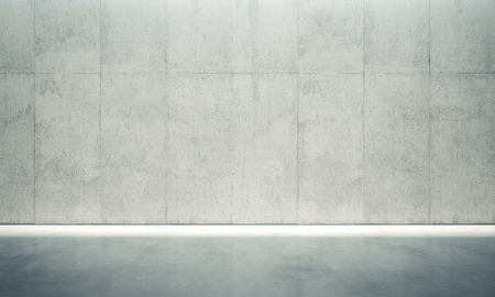 empty house: Blank concrete space interior wall with white lights.