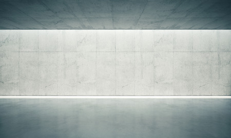 ceiling: Blank concrete space interior wall with white lights.