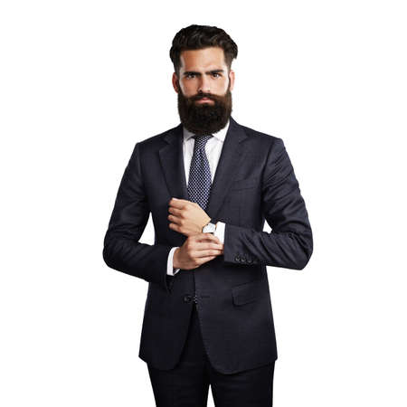 men in suit: Bearded handsome man wearing smart suit on the blank white background