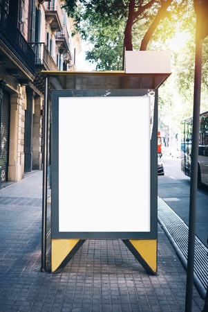 White mock up on the bus stop in the Barceona city