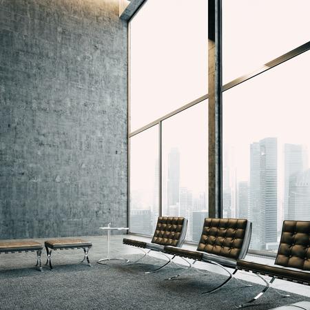 パノラマの景色とヴィンテージの椅子モダンなロフト。背景に大きな都市。