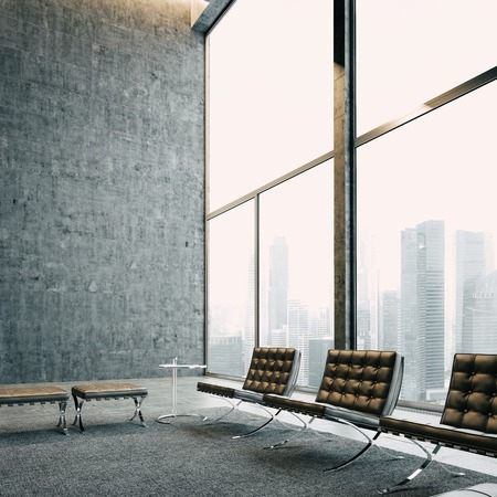 loft living: Modern loft with panoramic view and vintage chairs. With big city on the background.