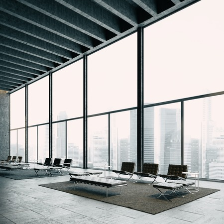 Modern loft with big panoramic view and vintage chairs. With big city on the background. Lounge zone for meetings