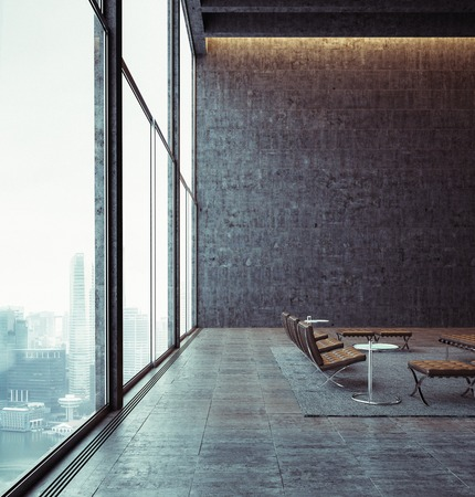 Modern loft with big panoramic view and vintage chairs. With big city on the background.