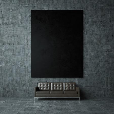 Blanco mockup van zwarte poster op de grijze concret muur en vintage lederen sofa